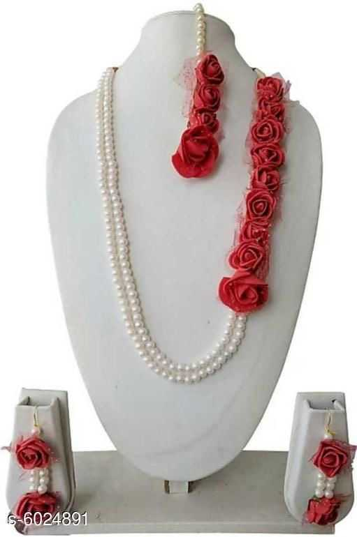 Trendy Beaded Artificial Floral Rose and Pearl Jewellery for Haldi ceremony - 2