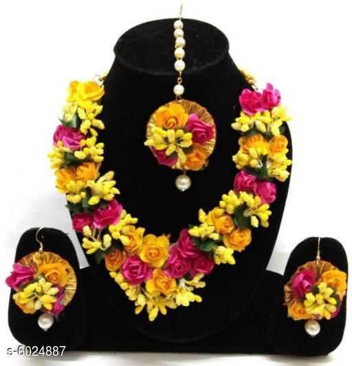 Pink and Yellow Artificial Floral Jewellery For Haldi and Mehendi Ceremony - 1