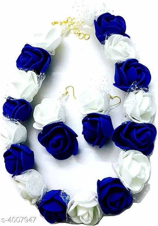 Blue and White Matching Artificial Rose Floral Jewellery for Mehendi Ceremony or Haldi Rasam - 1