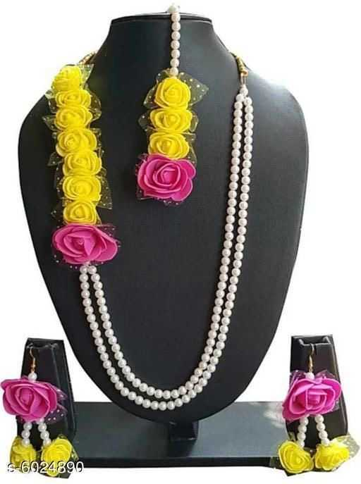 Trendy Beaded Artificial Floral Rose and Pearl Jewellery for Haldi ceremony - 3