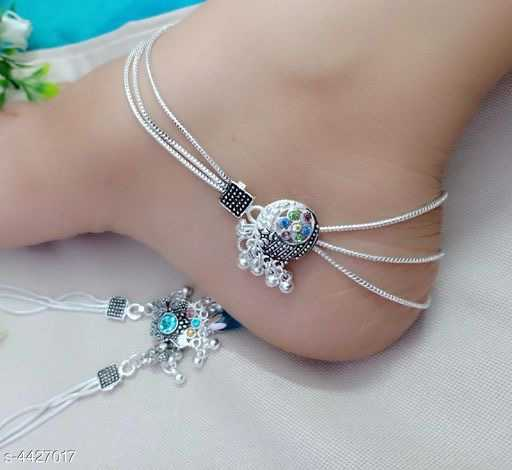 Modern Fancy Silver Multi chained Anklet - 1