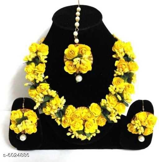 Yellow Rose Floral Jewellery For Haldi and Mehendi Ceremony - 2