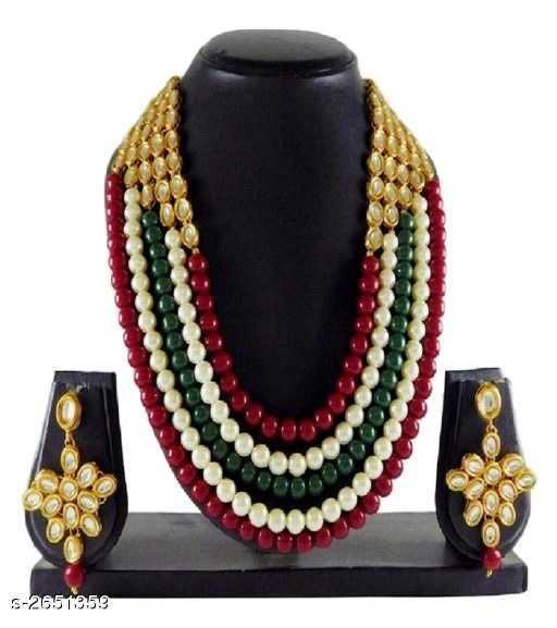 Elegant bridal Multilayered Kundan and Beads Alloy Necklace - 5